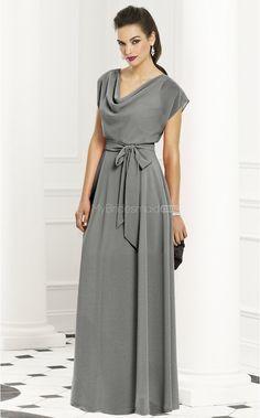 Silver Chiffon A-line Cowl Floor-length Bridesmaid Dresses(NZBD06234) - MyBridesmaid.co.nz