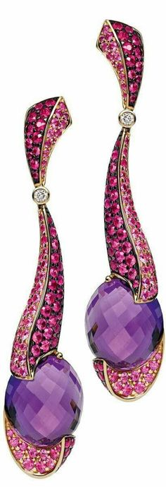 Pink sapphire, amethyst and diamond earrings  by Rodney Rayner,
