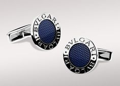 BVLGARI BVLGARI cufflinks in sterling silver with light blue enamel and guilloché engraving at London Jewelers!