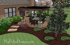 Our Simple Paver Patio Design with Pergola provides a great outdoor living space that you will be able to enjoy all summer long. How-to's and material lists. Landscaping Around Patio, Backyard Patio Designs, Landscaping Ideas, Patio Ideas, Yard Ideas, Front House Landscaping, Landscaping Plants, Porch Ideas, Landscape Design