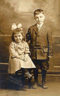 Very sweet photo postcard of siblings