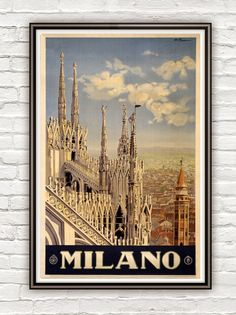 Vintage Poster of Milan Milano Italy Italia 1920 Tourism poster travel by OldCityPrints on Etsy https://www.etsy.com/listing/126014608/vintage-poster-of-milan-milano-italy