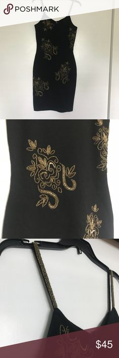 """The Limited black bodycon dress EUC The Limited black bodycon spaghetti strap gold beaded dress size S EUC chest 15"""" waist 14"""" shoulder to hem 33 1/2"""" (smoke free pet free home) The Limited Dresses"""