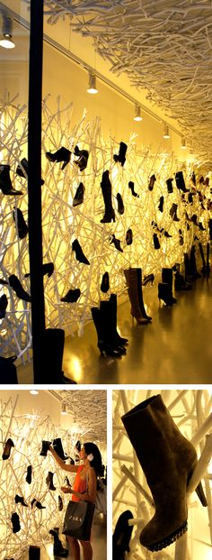 "FOOTWEAR STORE,Rome, Italy, ""Shoes do grow on trees....."", photo by POD,Australia, pinned by Ton van der Veer"