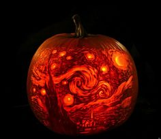 furniture-and-accessories-amazing-halloween-pumpkin-carving-showing-the-replica-of-popular-starry-night-painting-from-vincent-van-gogh-the-c... #Pumpkin Carving #Pumpkin Carving Patterns #Halloween