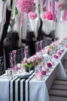 A modern pink, black and white bridal shower