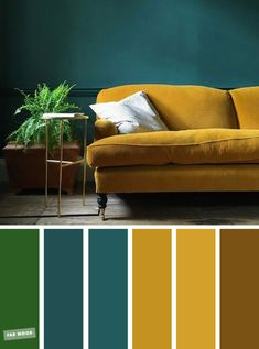 Green   Mustard   Teal – The Best Living Room Color Schemes #livingroom #colors #mustardyellow