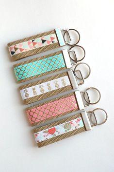 Mini KEY FOB- Pineapple Key Chain- Gold Keychain Holder- Womens Key Ring- Key Lanyard- Gold Wristlet Key Fob- Womens Gift for Her Under 10