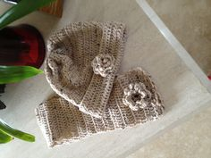 Crocheted Ladies Hat and Scarf