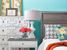 A Place for Pattern in Classic Color Combination: Aqua and Orange  from HGTV
