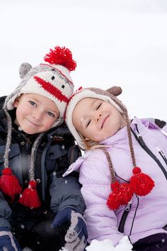 b/s - the matching sock monkey hats are too cute!
