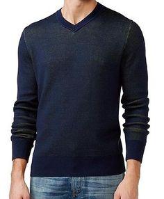 Tommy Hilfiger NEW Navy Blue Green Men Large L Two-Tone V-Neck Sweater $89 #241