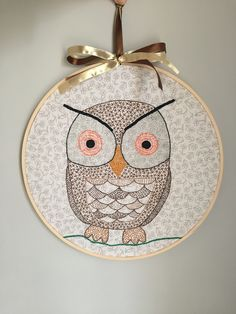 Embroidered owl embroidery hoop