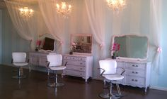 Using old dressers for stylist stations. Salon Envy in Waxahachie, Tx. If you want to see more salon ideas u can like our page on FB @ salon ENVY (official page).