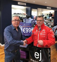 Paul Has A 6th Sense For EJ Competition! Pictured is Paul Gallagher with EJ after receiving his prize of a 6th Sense outfit for guessing the correct date of Father's Day in a recent competition! No doubt Paul will be looking as dapper as ever in his local Lang's with his new rigout!  Congrats Paul!