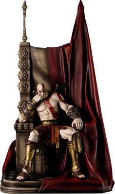 God of War Kratos on Throne Statue by Gaming Heads Anime Figures, Action Figures, God Of War Game, Kratos God Of War, New Gods, Greek Mythology, Game Character, Game Art, 3d Character