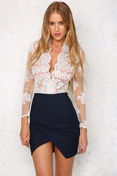 Hello Lace White Bodysuit