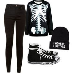 Simple gender neutral emo/ goth/ scene by xxmentalydeadxx on Polyvore featuring polyvore, fashion, style, Converse and NLY Accessories