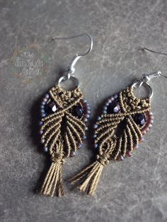 micro macrame owl earrings with glass beads by TheDandelionGypsy.