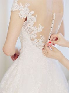 Lace illusion back wedding dress | Photography: Michael and Carina - http://www.michaelandcarina.com/