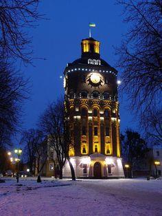 Old Tower night winter (water tower) - Vinnitsa, Ukraine  Водонапірна башта взимку - Вінниця, Україна
