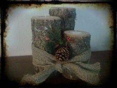 Trio logs with burlap and christmas sprig