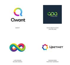 2019 LogoLounge Trend Report - Gradient Break Logos These logos span a range of colors, with distinct separation between colors, but still similar to a gradient. Logo Design Trends, Web Design, Graphic Design, Flat Design, Logo Branding, Branding Design, Design Logos, Design Spartan, Morse