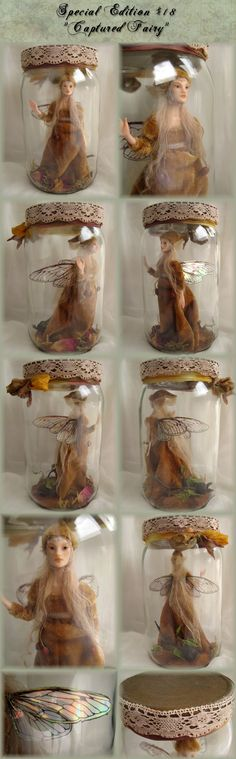 Captured Fairy in a jar by Rosa Grueso.  Good way to keep the dust off!