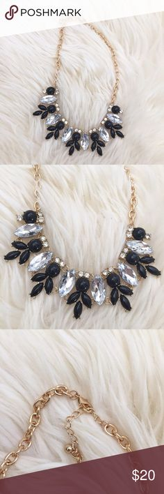 New! Black & Clear Stone Petal Statement Necklace In excellent condition. Beautiful necklace that can be paired with many looks, casual or dressy! Clasp closure, gold metal chain. ❌NO TRADES OR PAYPAL❌ Jewelry Necklaces