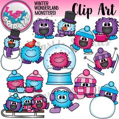 Winter is here and the happy little monsters want to play in the snow! Here is another adorable set of monsters building a snowman, drinking hot cocoa, skiing, sledding, and bundling up in their winter scarves and hats! Make your winter activities merry and bright with these cute little guys!   There are 13 different color images along with 13 black and white versions. All images are 300 DPI PNG files with transparent backgrounds. Personal and commercial use acceptable with credit! Enjoy!
