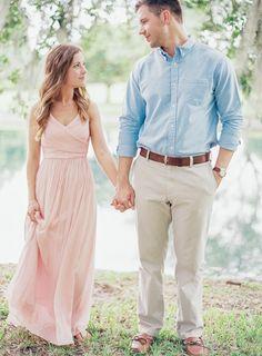 pink dress Engagement Photo Dress, Engagement Dresses, Engagement Couple, Engagement Pictures, Summer Engagement Outfits, Pink Dress, Dress Up, Amy And Jordan, Couple Outfits