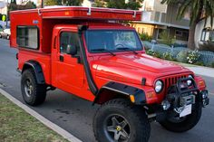 The AEV Jeep TJ Wrangler Brute pickup truck conversion meets the Four Wheel Camper Sparrow for off road and overland adventure. Check out this awesome Jeep truck camper! Jeep Jk, Jeep Brute, Aev Jeep, Jeep Wrangler, Lancaster, Jeep Camping, Bug Out Vehicle, Cool Jeeps, Expedition Vehicle