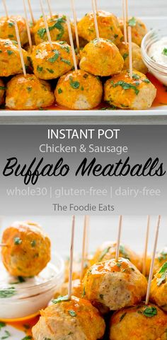 These Instant Pot buffalo meatballs are a great party appetizer (perfect for Sup. These Instant Pot buffalo meatballs are a great party appetizer (perfect for Super Bowl) that are W Dairy Free Appetizers, Dairy Free Recipes, Appetizers For Party, Gluten Free Party Food, Parties Food, Keto Recipes, Clean Eating Snacks, Healthy Snacks, Buffalo Meatballs