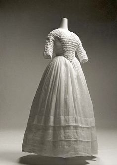 Cotton Dress with Smocked Bodice Panel, American, 1841-44