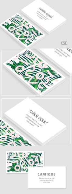 Palm Pastel Business Card Template PSD