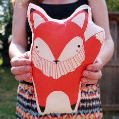 Fox Pillow Orange  by Stacie Bloomfield #fox #pillow #orange