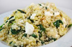 Pearl Couscous with Artichokes, Spinach and Feta