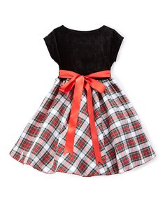 Take a look at this Black & Red Plaid A-Line Dress - Infant, Toddler & Girls today!