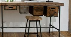 Man, I wish I could afford this! Reclaimed Wood Desk with industrial modern pipe by UrbanWoodGoods,