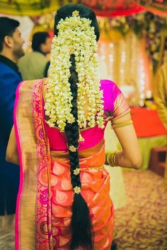 "Photo from The ''We Do'' Moments by Meenakshi Jain ""A+A"" album Wow! Photo by The ""We Do"" Moments by Meenakshi Jain, Mumbai South Indian Wedding Hairstyles, Bridal Hairstyle Indian Wedding, Long Indian Hair, South Indian Bride Hairstyle, Indian Hairstyles, Bridal Hair Down, Bridal Hair Buns, Bridal Braids, Bridal Hair Flowers"