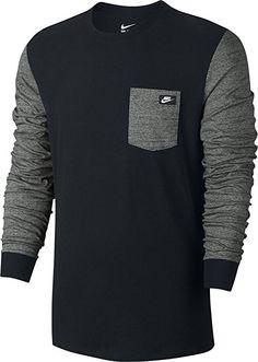 Nike mens TEE-SHOEBOX LS 806743-010_S - BLACK/TUMBLED GREY