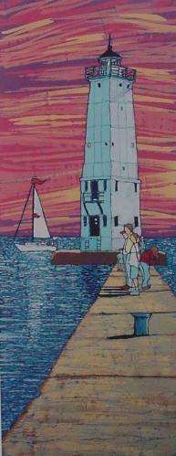 Frankfort Pier Lighthouse Batik Giclee by Terri by TerriHaugenArt, $25.00