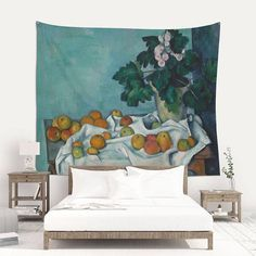 Still Life with Apples and a Pot of Primroses by Paul Cézanne. 1890.  Still life by Cezanne printed on different size wall tapestries. DETAILS This is a printed fabric made of 100% polyester. Perfect for decorating walls or creating original atmospheres.  ** This is not a vintage product