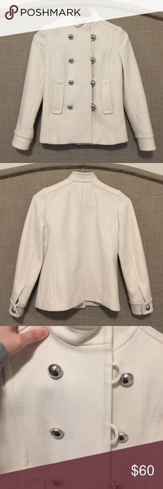 """Banana Republic ivory wool peacoat, size XS petite Banana Republic ivory wool coat, size XS petite. Previously worn a few times but in very good condition. Very little pilling. Material: shell 80% wool, 20% nylon; lining 100% acetate. No rips/tears/stains. Measurements: 14"""" shoulder to shoulder, chest 16"""" across, sleeves 15.5"""" from armpit, length 21"""" from back center. Banana Republic Jackets & Coats Pea Coats"""