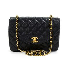 f03864155b66 Authentic Chanel black quilted leather bag. It has CC twist lock on the  front flap
