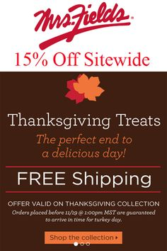 Mrs Fields Coupon Codes: Get 15% Off Sitewide!