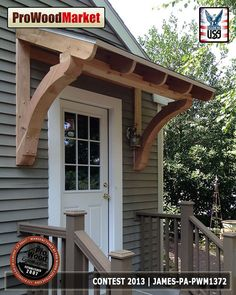 Front Porch with Side Steps . Front Porch with Side Steps . Front Porch Cedar Brace From Pro Wood Market Front Door Overhang, Front Door Awning, Porch Awning, Roof Overhang, Pergola Roof, Porch Canopy, Door Canopy, Small Porches, Decks And Porches