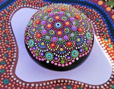 Hand Painted Mandala Stone # 2/ Medium Mandala/ Table decor/ Hand painted mandala rocks/ Mandala beach rock dot art hand painted/ Love gift