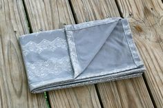 Silver Shimmer - Cotton Knit Swaddle Stretch Snuggle Baby Girl Blanket Gray by Mint Chocolate Chip