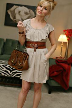 I love Chloe. Dress- Forever 21, Belt- Urban Outfitters, Bracelets- American Eagle